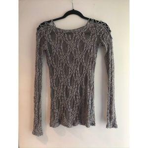 Free People Lace Shirt Gray Size S
